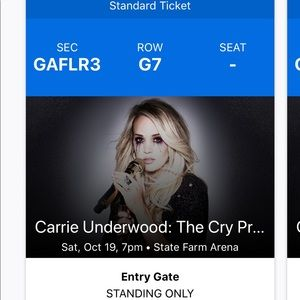 2 pit tickets to Carrie Underwood in Atlanta Oct 9